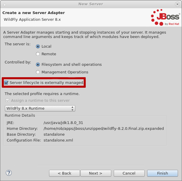 JBoss Tools - Debugging an Externally launched WildFly