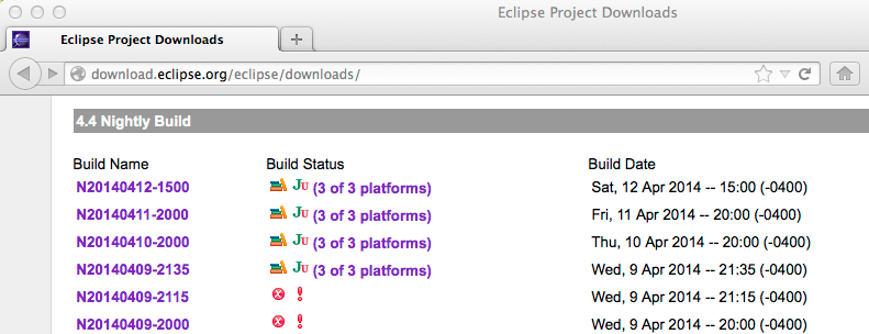 Eclipse Nightly Builds