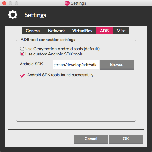 genymotion settings adb