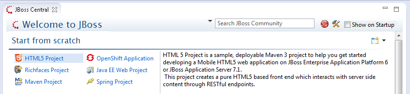 html5 project jboss central