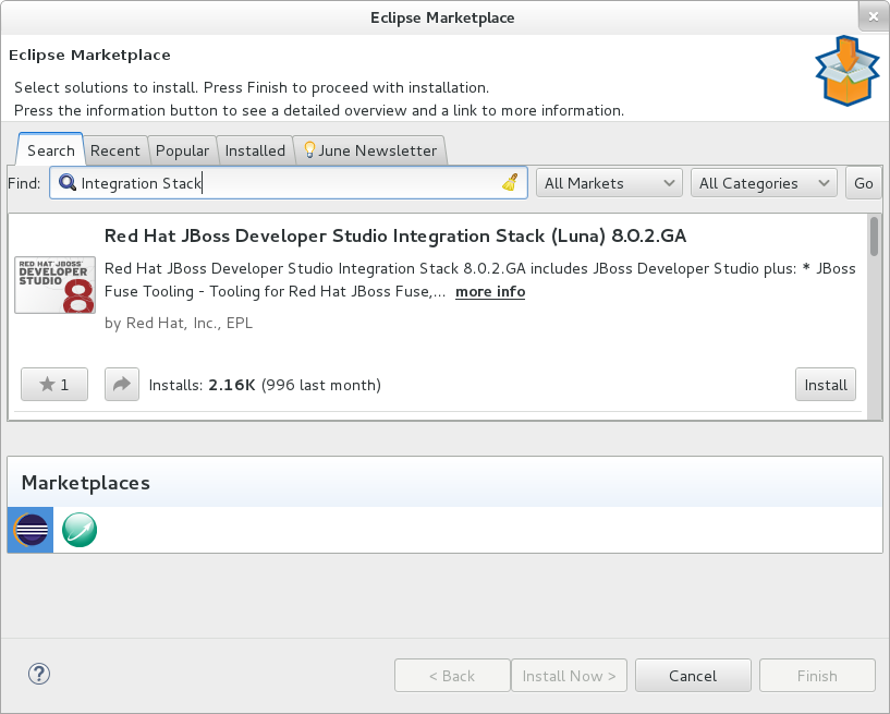 Eclipse Marketplace - JBoss Developer Studio Integration Stack