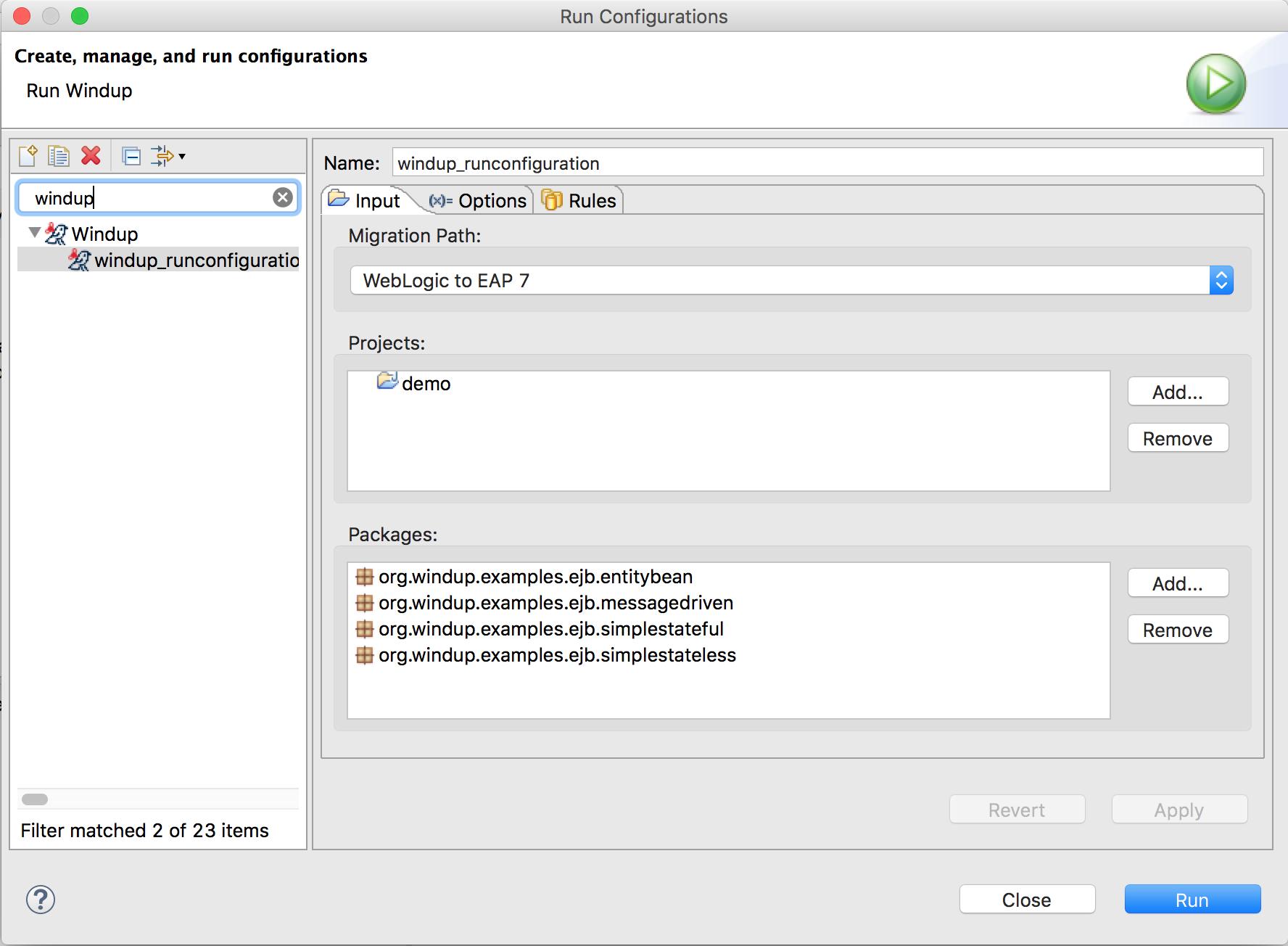 Run Configuration