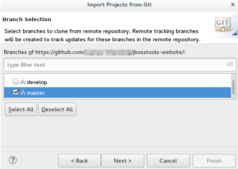 JBoss Tools - Importing Projects in the IDE Using Git Import