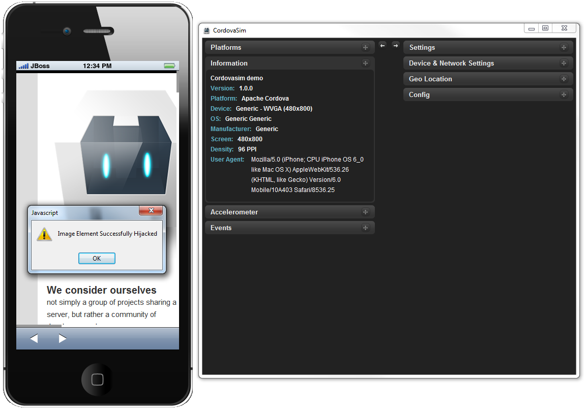 CordovaSim running InAppBrowser example from PhoneGap API Documentation