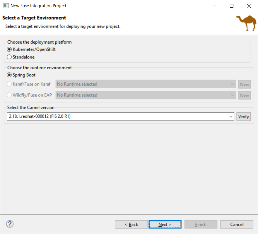 New Fuse Integration Project wizard page to select environment