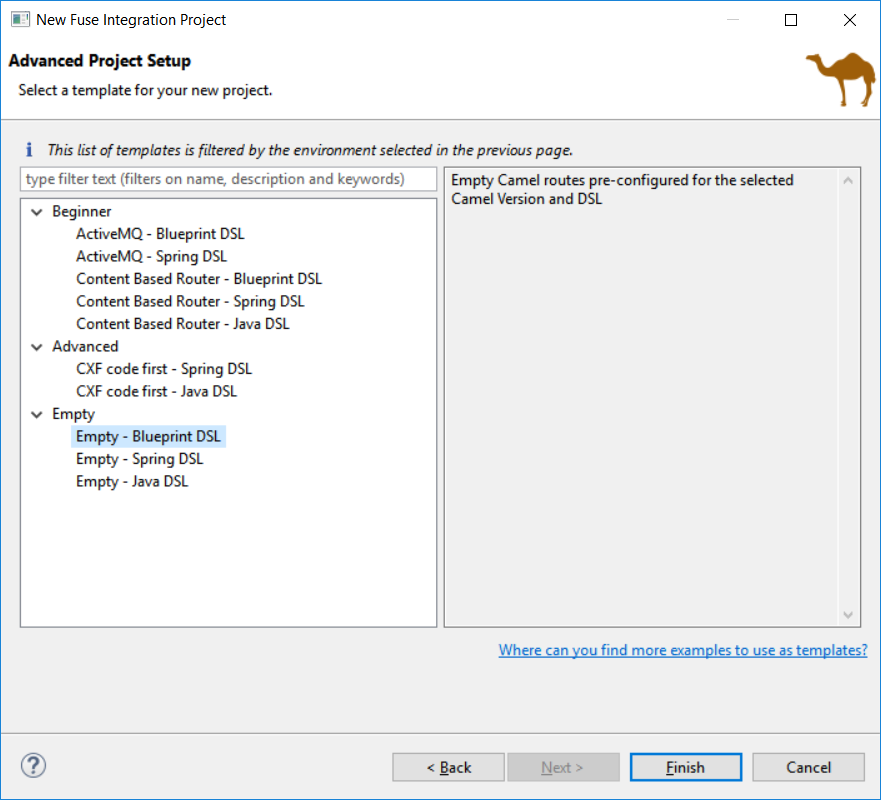 New Fuse Integration Project wizard page to select templates