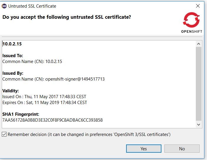 certificate validation dialog