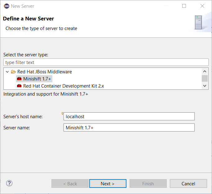 minishift server adapter