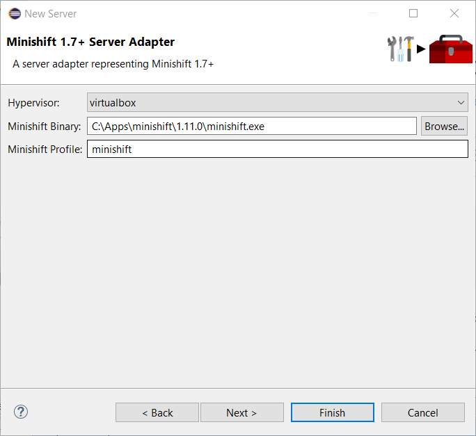 minishift server adapter1
