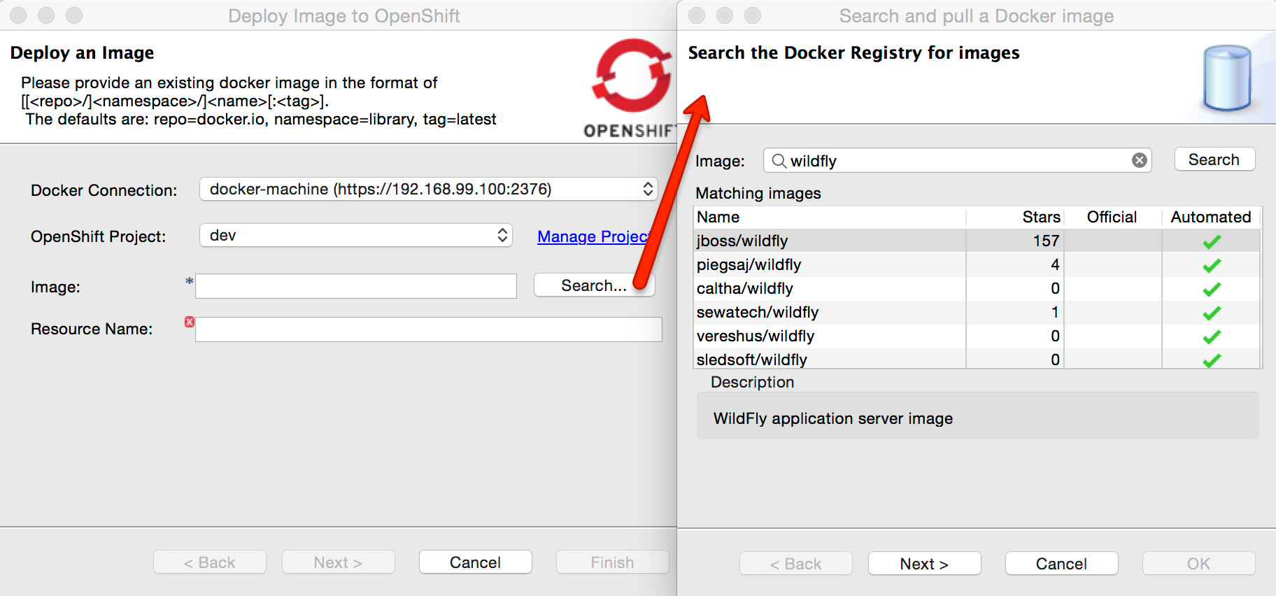 search docker images