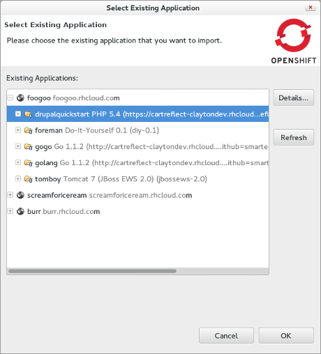 select existing application