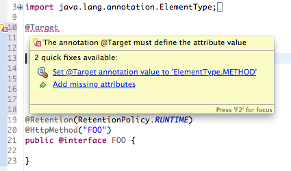 java annotation value quickfix